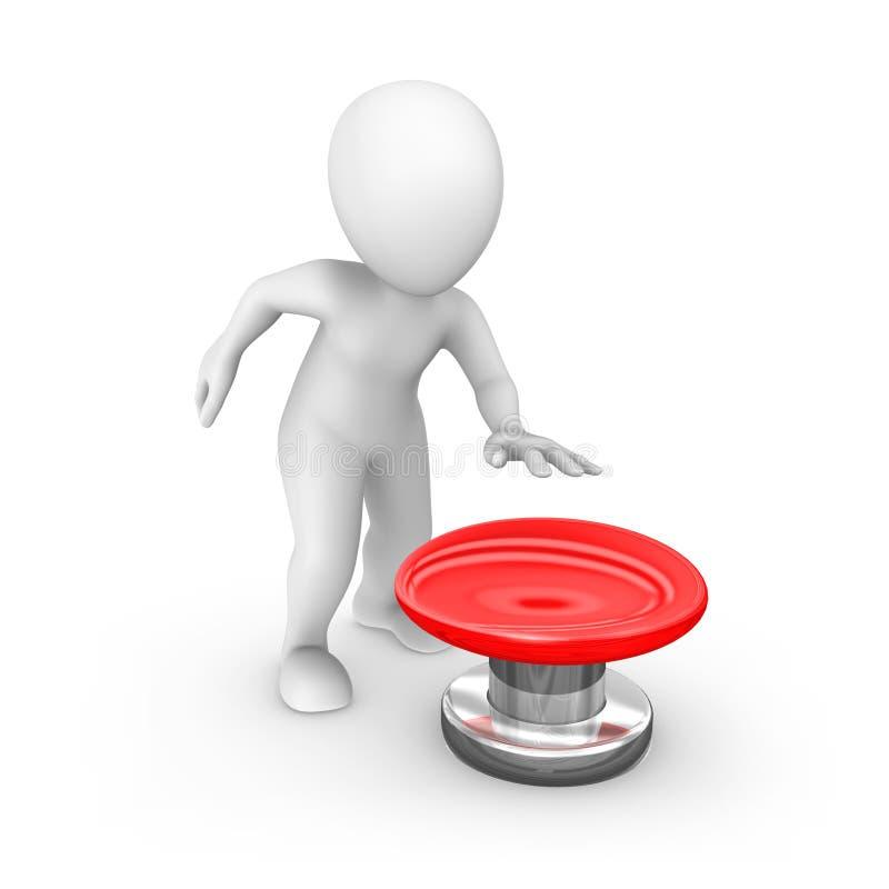 3d humano con el botón rojo grande stock de ilustración