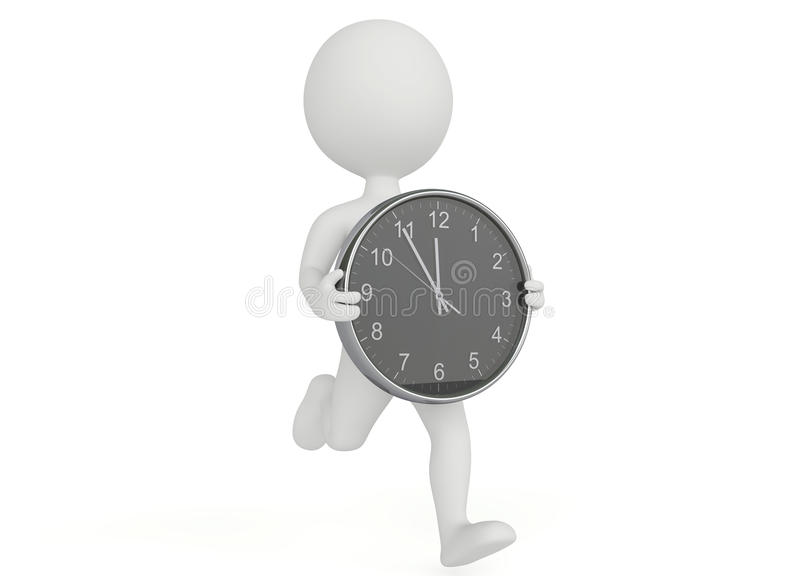 3d humanoid character running with a clock. On white royalty free illustration