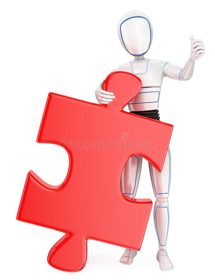 3D Humanoid robot with a huge puzzle piece. Solution. 3d futuristic android illustration. Humanoid robot with a huge puzzle piece. Solution. White background vector illustration