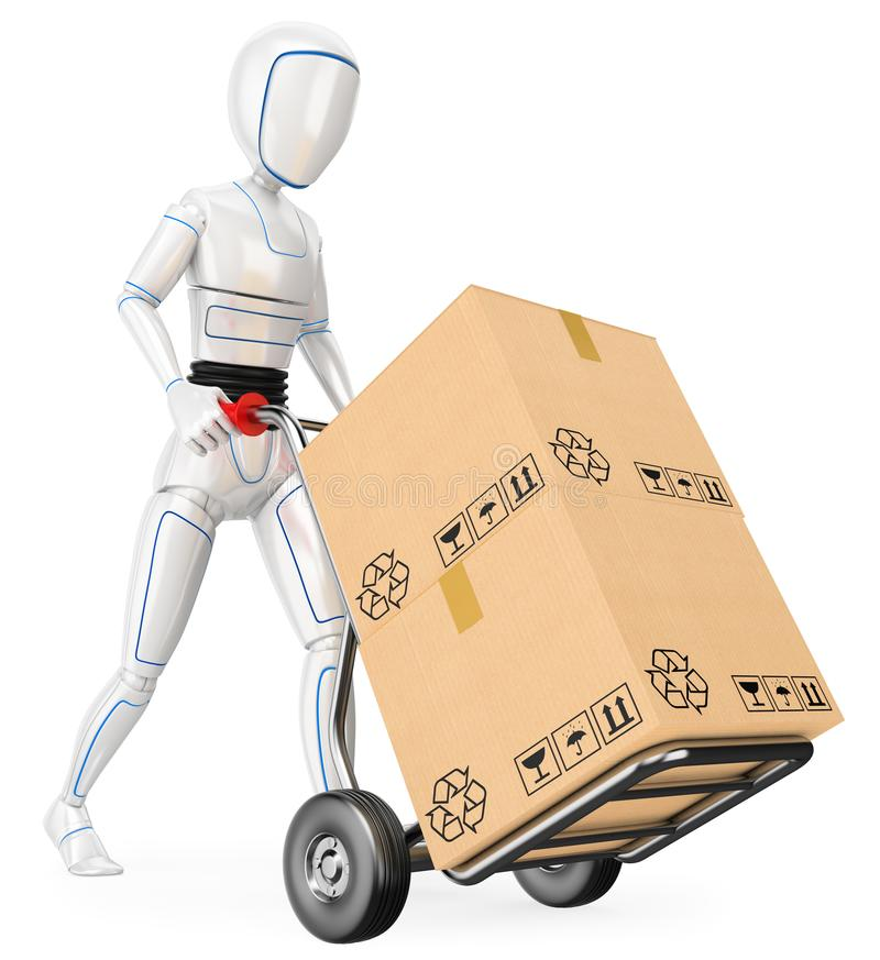 3D Humanoid robot pushing a cart with cardboard boxes royalty free illustration