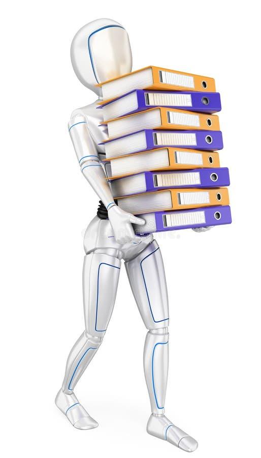 3D Humanoid robota ładowanie z wiele ringowymi segregatorami Pracy przeciążenie royalty ilustracja