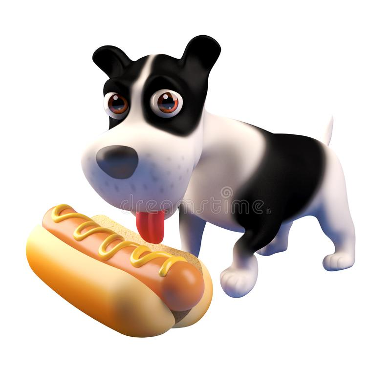 3d hungry puppy dog looks at a giant hot dog food snack, 3d illustration stock illustration
