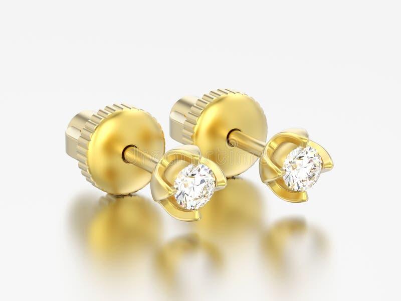 3D i diamanti dell'oro giallo dell'illustrazione due avvitano la posta ea sterlina illustrazione di stock