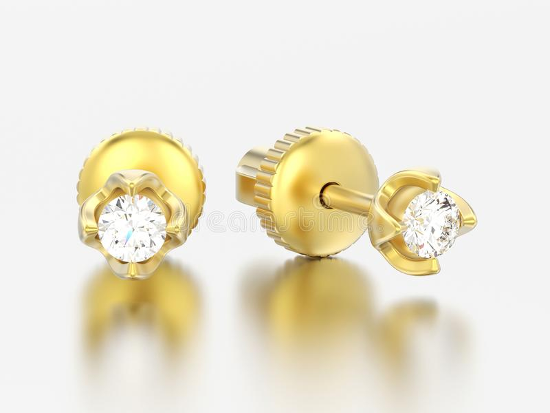 3D i diamanti dell'oro giallo dell'illustrazione due avvitano la posta ea sterlina illustrazione vettoriale