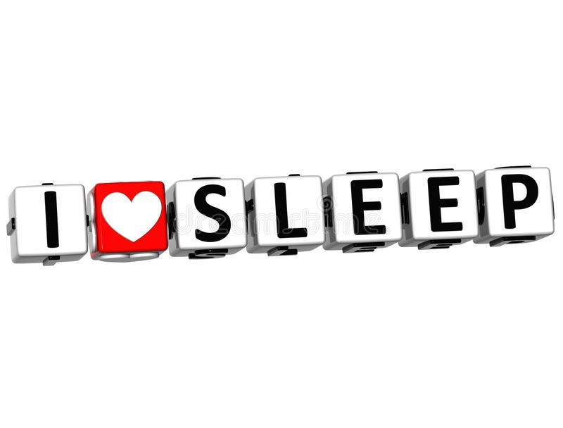 3D I Love Sleep Button Click Here Block Text stock illustration