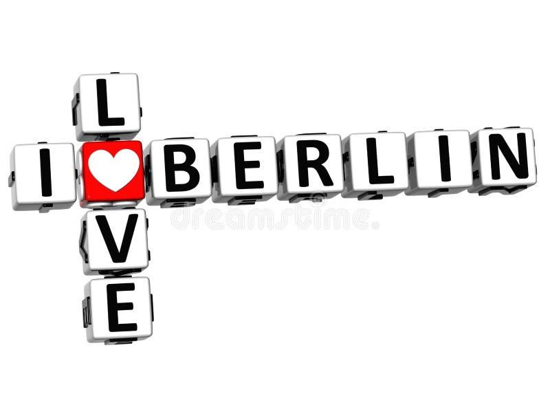3D I-tekst van Liefdeberlin crossword block royalty-vrije illustratie