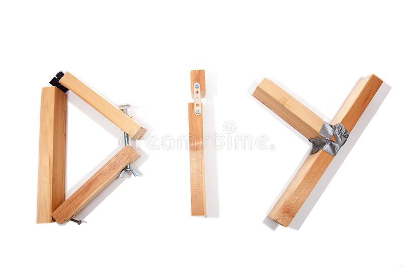 D.I.Y. disaster. Badly constructed D I Y Do It Yourself sign let stock photos