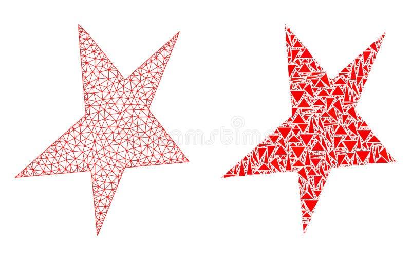 2D icône polygonale de Mesh Asymmetrical Star et de mosaïque illustration libre de droits