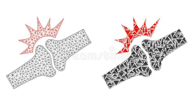 2D icône polygonale de Mesh Bone Joint Fracture et de mosaïque illustration libre de droits