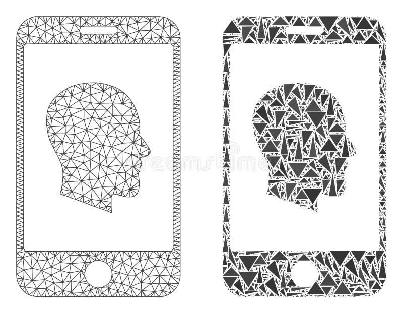 2D icône polygonale de Mesh Cellphone Profile et de mosaïque illustration de vecteur
