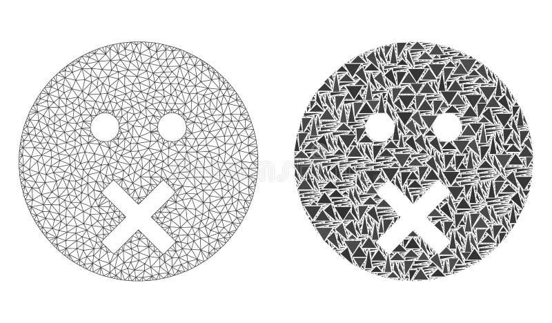 2D icône polygonale de Mesh Silence Smiley et de mosaïque illustration de vecteur