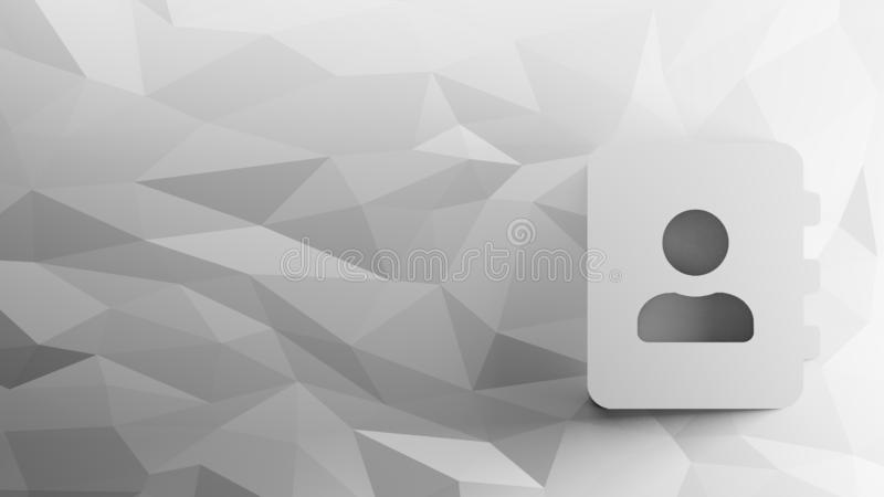 3d icon of address book. On low-poly abstract triangular mosaic on grayscale background royalty free illustration