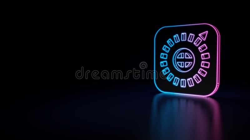3d icon of apple ios compass. 3d icon of blue violet neon apple ios compass isolated on black background stock illustration