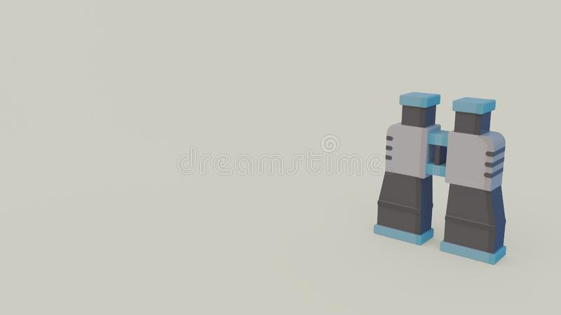 3d icon of binocular. 3d icon of blue gray binocular isolated on gray background stock illustration