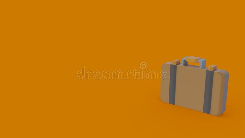 3d icon of briefcase. 3d icon of beige suitcase isolated on orange background royalty free illustration