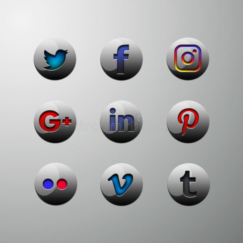 3d icon buttons social media royalty free illustration