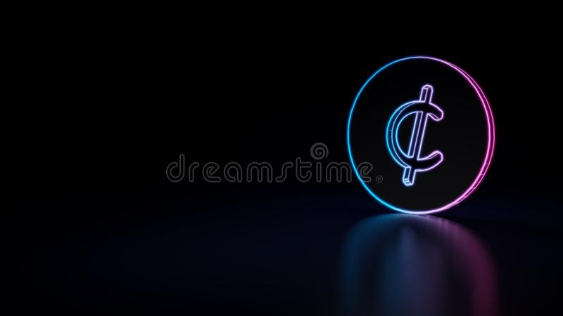 3d icon of cent. 3d icon of blue violet neon cent coin isolated on black background royalty free illustration