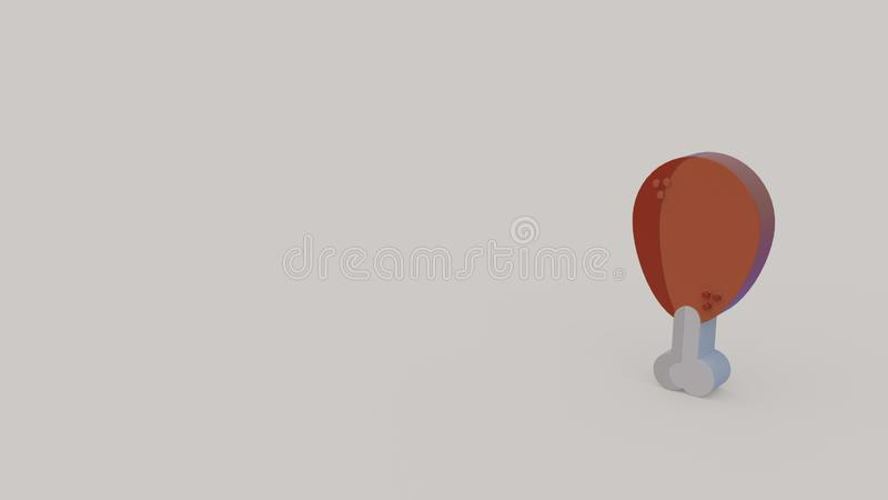 3d icon of chicken leg. 3d icon of fried chicken leg isolated on gray background royalty free illustration