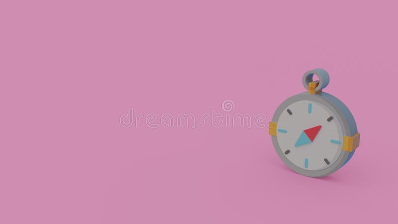 3d icon of compass. Isolated on light violet background royalty free illustration