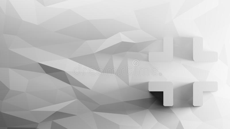 3d icon of compress. Angles on low-poly abstract triangular mosaic on grayscale background vector illustration