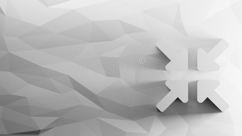 3d icon of compress arrows. On low-poly abstract triangular mosaic on grayscale background royalty free illustration