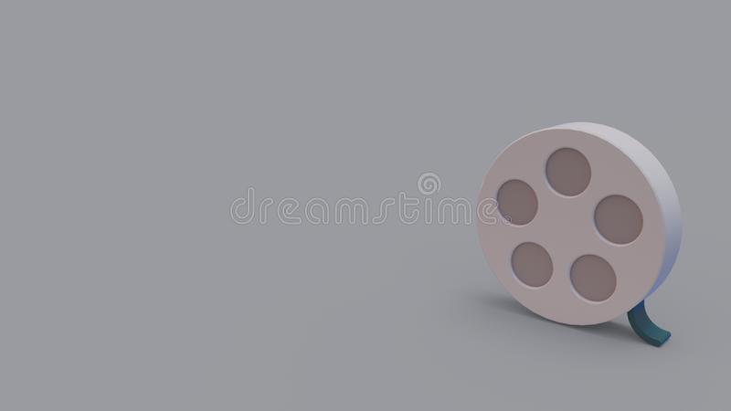 3d icon of film reel stock illustration