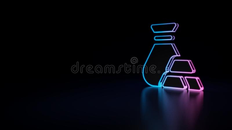 3d icon of gold ingot. 3d icon of blue violet neon bag and ingot isolated on black background royalty free illustration