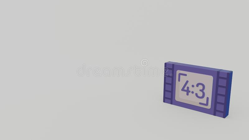 3d icon of image format. 3d icon of violet image format with ratio 4 to 3 isolated on gray background vector illustration
