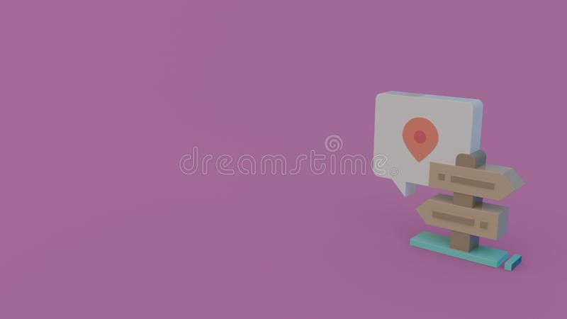 3d icon of location signpost. Color 3d icon of wooden signpost with location on violet background royalty free illustration