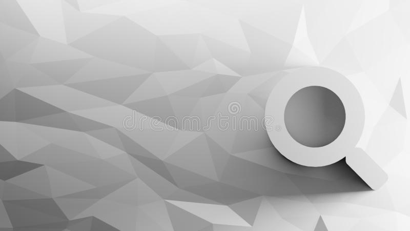 3d icon of magnifying glass. On low-poly abstract triangular mosaic on grayscale background stock illustration