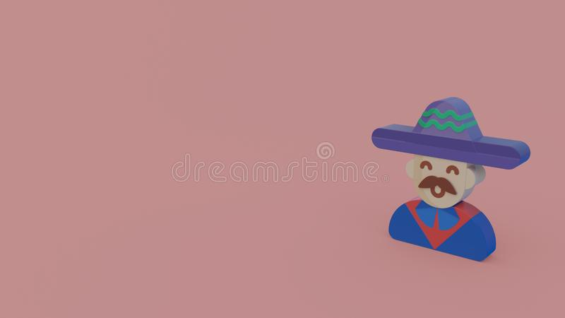3d icon of mariachi. With blue clothes and hat isolated on pink background vector illustration