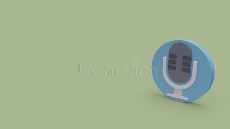 3d icon of microphone. 3d icon of gray microphone isolated on light green background royalty free illustration