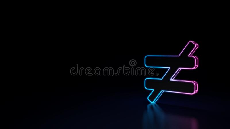 3d icon of not equal. 3d icon of blue violet not equal character isolated on black background stock illustration