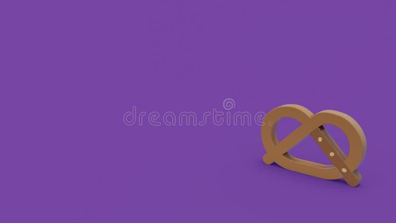 3d icon of pretzel. Isolated on dark violet background vector illustration