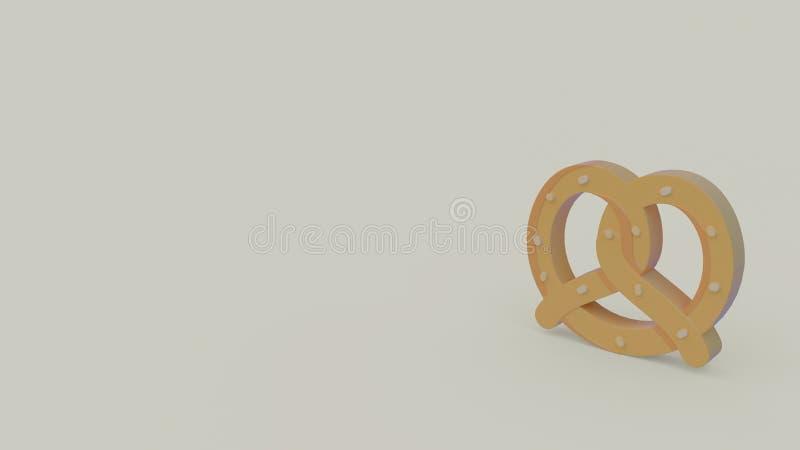 3d icon of pretzel. Isolated on light gray background stock illustration