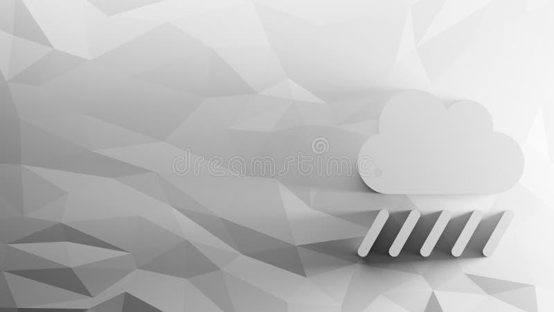 3d icon of rainy cloud stock illustration