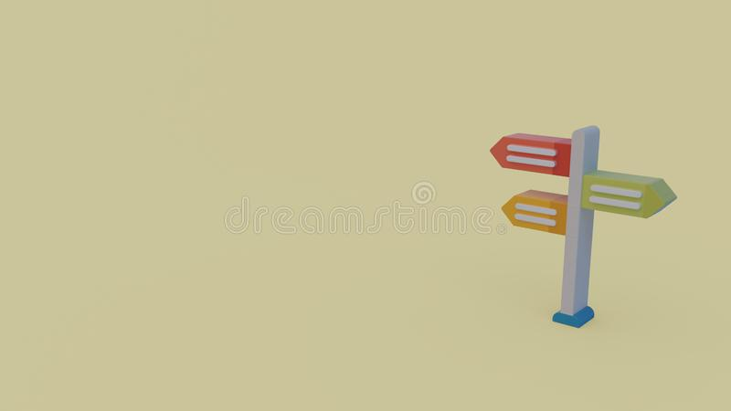 3d icon of road sign. Isolated on light green background stock illustration