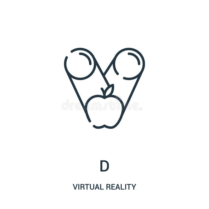 d icon vector from virtual reality collection. Thin line d outline icon vector illustration royalty free illustration