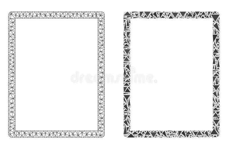 2D icona poligonale del mosaico e di Mesh Empty Page illustrazione vettoriale