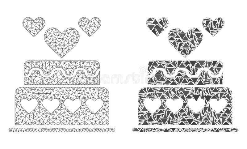2D icona poligonale del mosaico e di Mesh Marriage Cake royalty illustrazione gratis