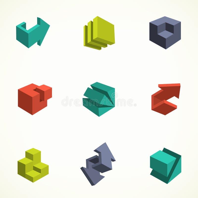 3d ikony ustawiać Wektorowa ilustracja z abstraktem ilustracja wektor