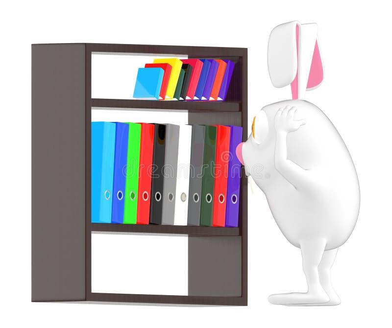 3d il carattere, il coniglio, preoccupazione, guardante archiva in uno scaffale illustrazione vettoriale