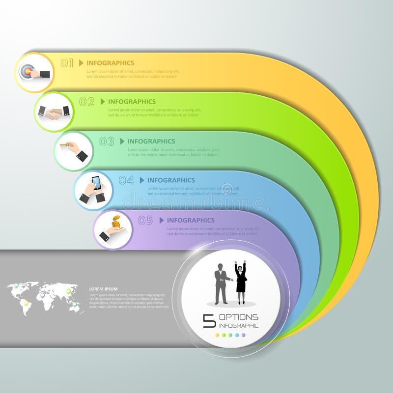 3d il modello infographic astratto, le opzioni 5 di numero fa un passo, illustrazione di stock