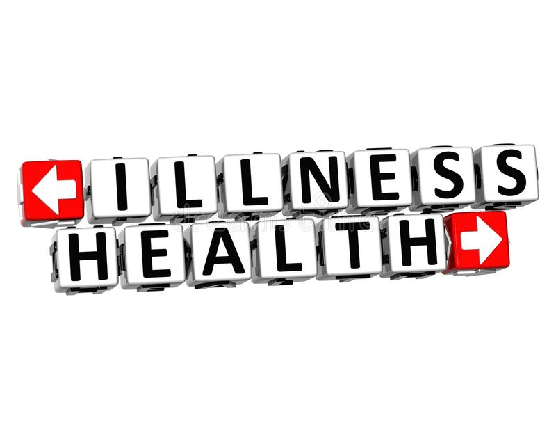 3D Illness Health Button Click Here Block Text. Over white background stock photos