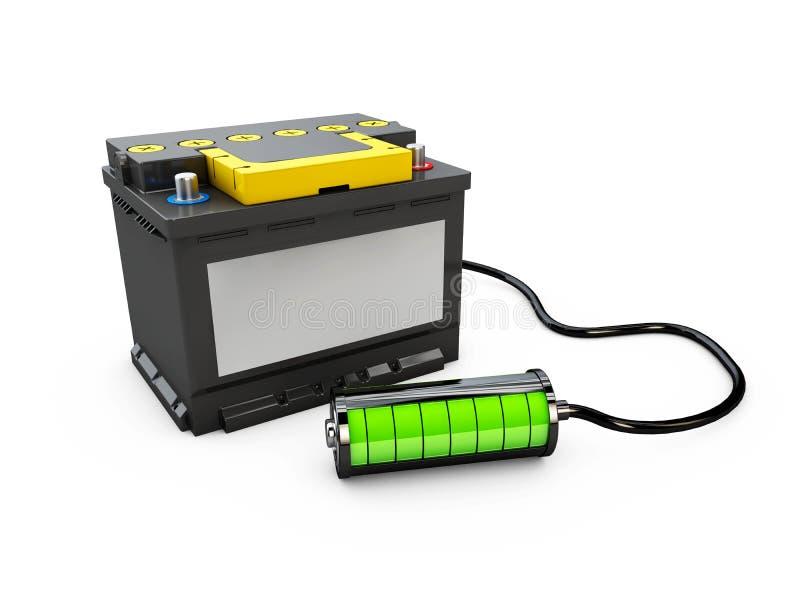 3d Illusration del poder de la fuente eléctrica de las piezas de automóvil del coche del acumulador de batería ilustración del vector