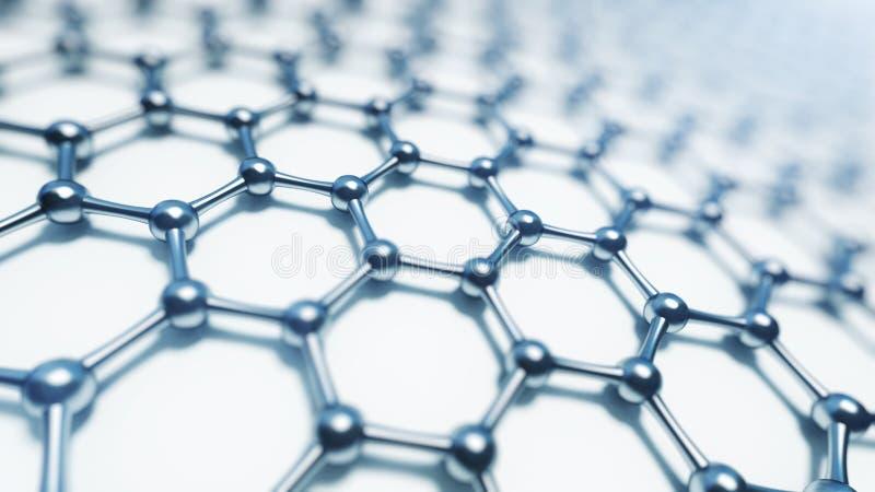 3d illusrtation graphene molekuły Nanotechnologiego tła ilustracja obraz royalty free