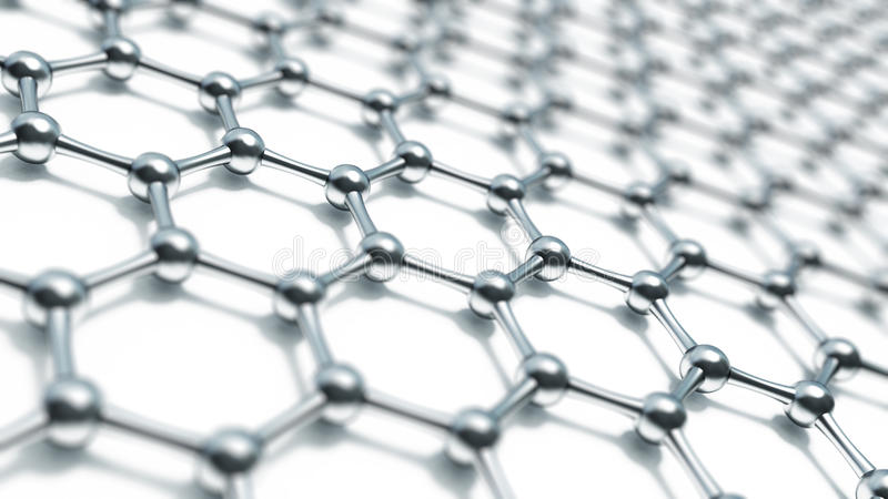 3d illusrtation graphene molekuły Nanotechnologiego tła ilustracja obrazy stock