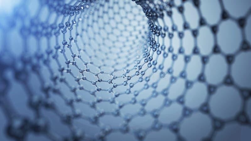3d illusrtation graphene molekuły Nanotechnologiego tła ilustracja fotografia stock