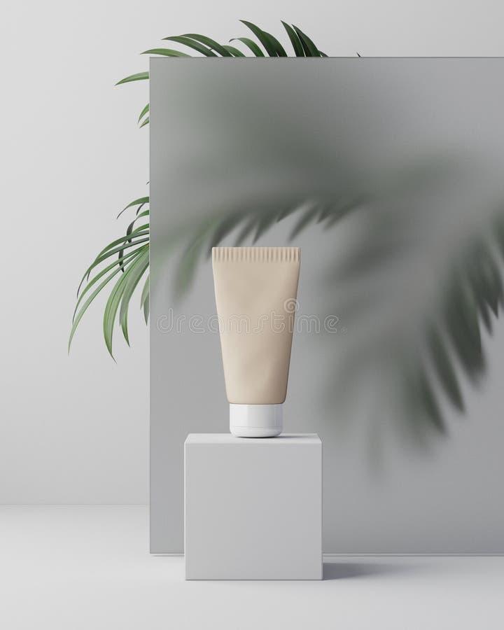 3d illustartion 草本在塑料瓶子的皮肤学化妆卫生奶油色skincare产品在玻璃背景与 向量例证