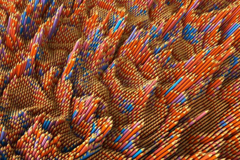 3D Illustratie creatieve achtergrond van kleurpotloden met verschillende verhoging Rood en blauw patroon vector illustratie